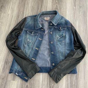 Jean jacket w faux leather sleeves